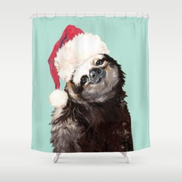 Christmas Sloth in Green Shower Curtain