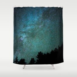 Colorful Green Blue Milky Way Night Sky With Tree Silhouette Shower Curtain