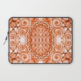 Orange Zentangle Tile Doodle Design Laptop Sleeve