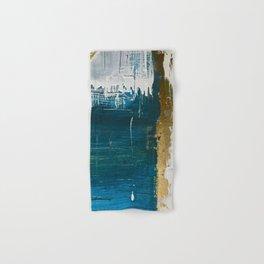Rain [3]: a minimal, abstract mixed-media piece in blues, white, and gold by Alyssa Hamilton Art Hand & Bath Towel