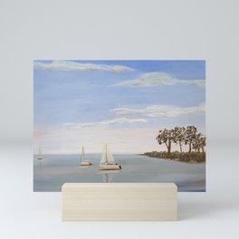 sailboats on Lake Murray Mini Art Print