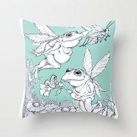 fairies Throw Pillows featuring Frog Fairies by Meg Hewick