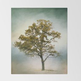 Bleached Sage Green Cotton Field Tree - Landscape  Throw Blanket