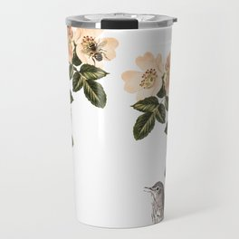 Blackberry Spring Garden - Birds and Bees Cream Flowers Travel Mug