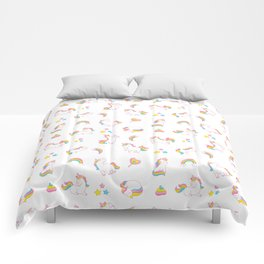 Cute magical rainbow girly pink trendy Unicorn pattern Comforters