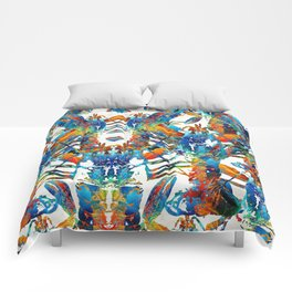 Colorful Lobster Collage Art - Sharon Cummings Comforters