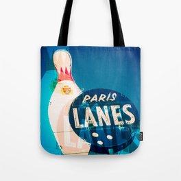Paris Bowling Lanes Neon Sign Tote Bag