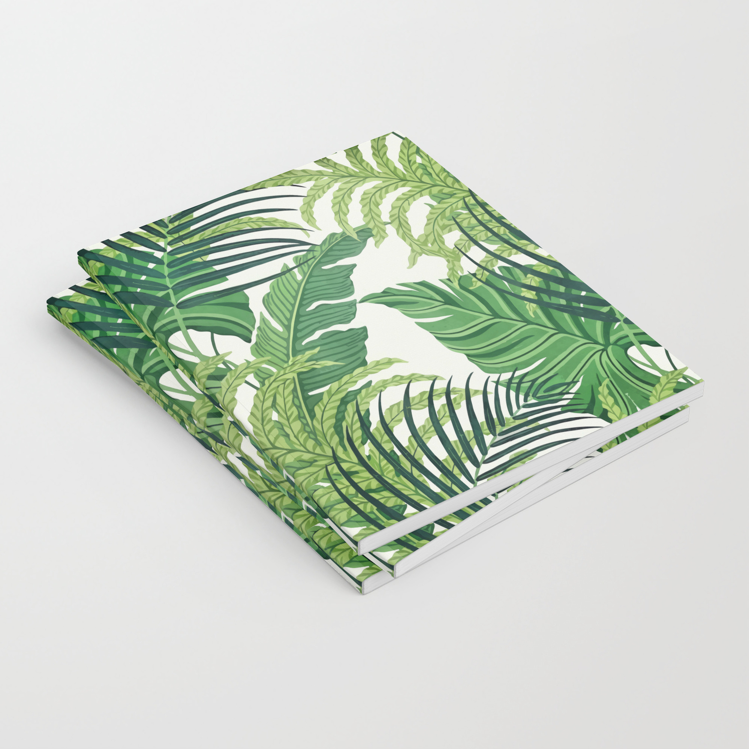 Green Tropical Leaves Ii Notebook By Catyarte Society6 Lined notebook 40 leaves size:a5. society6