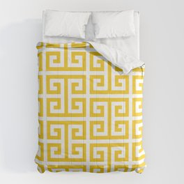 Large Gold and White Greek Key Pattern Comforters