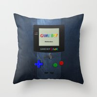 gameboy Throw Pillows featuring GAMEBOY COLOR by Smart Friend