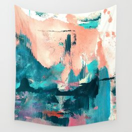 Sugar: a fun, minimal mixed-media abstract piece in pinks and blues Wall Tapestry