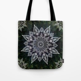 Rising Soul Mandala Design White Blue Green Tote Bag