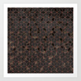 Copper Gold and Black Hexagons Geometric Pattern Art Print