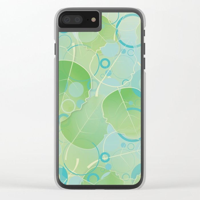 Floating Leaves Pattern I - Spring, Summer, Apple Green Clear iPhone Case