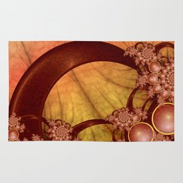 Decoration, Fractal Art Shining Grapic With Warm Colors Rug