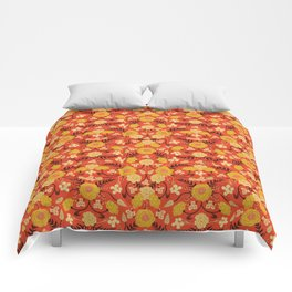 Vibrant Orange, Yellow & Brown Floral Pattern w/ Retro Colors Comforters