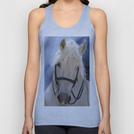 Painted White Horse head Unisex Tank Top