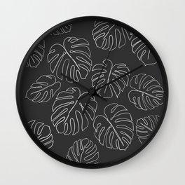 black leaf monstera Wall Clock