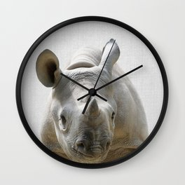 Baby Rhino - Colorful Wall Clock