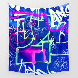 Blue Mood with Pink Language Wall Tapestry