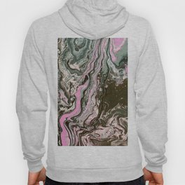 Fluid Art Acrylic Painting, Pour 34, Black, Gray, Pink & White Blended Color Hoody