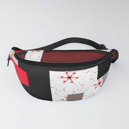 red grey black white floral geometric digital art Fanny Pack
