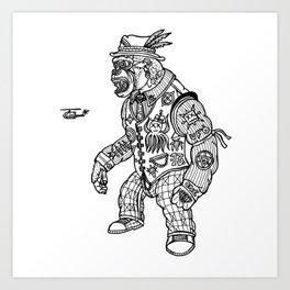King Kong Black and White Art Print