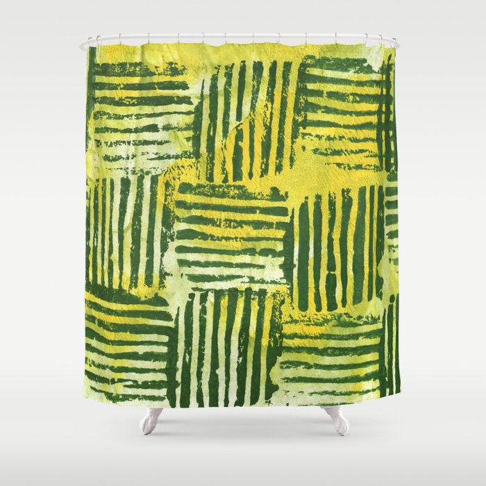 Yellow green striped squares Shower Curtain