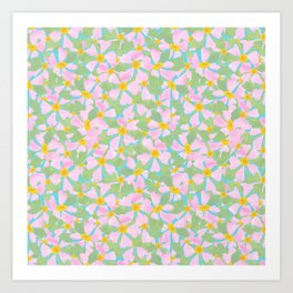 Pink Dogrose Flowers on Sky Blue Art Print