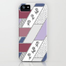 Abstract hand drawn geometric pattern with glitter pink and blue iPhone Case