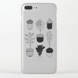Acorns and oak leaves autumn pattern Clear iPhone Case
