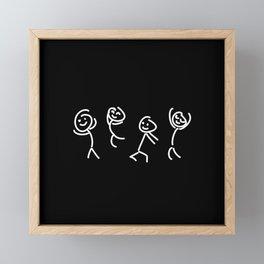 Dancing Dudes -  White on Black - Stickmen Framed Mini Art Print