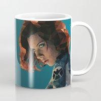 black widow Mugs featuring Black Widow by Chelsea Lindsay