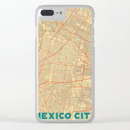 Mexico City Map Retro Clear iPhone Case