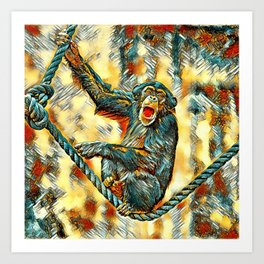AnimalArt_Chimpanzee_20170901_by_JAMColorsSpecial Art Print