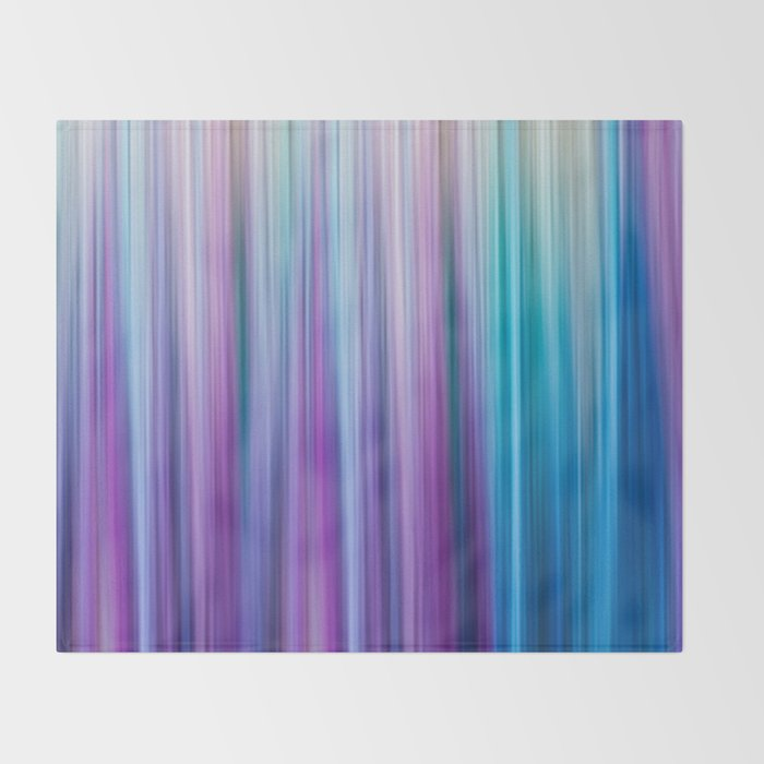 Abstract Purple and Teal Gradient Stripes Pattern Throw Blanket