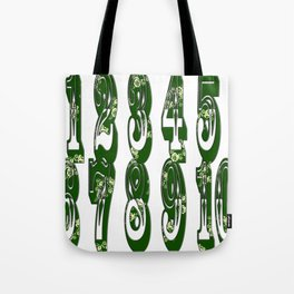 Green Canal Flowers Numbers Tote Bag