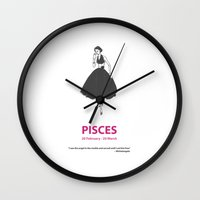 pisces Wall Clocks featuring Pisces by Cansu Girgin