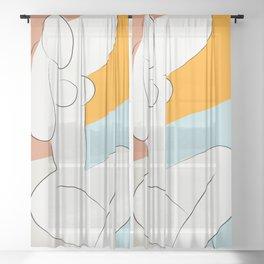 Matisse Minimal Art, Matisse Art Print, Mid Century Wall Art, Woman Minimal Sketch, Modern Art Sheer Curtain