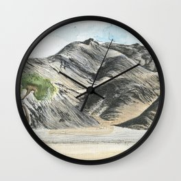 Watercolour and pen mountains. Wall Clock