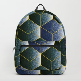 Transparent empty 3D cubes in navy  blue, geometric print Backpack