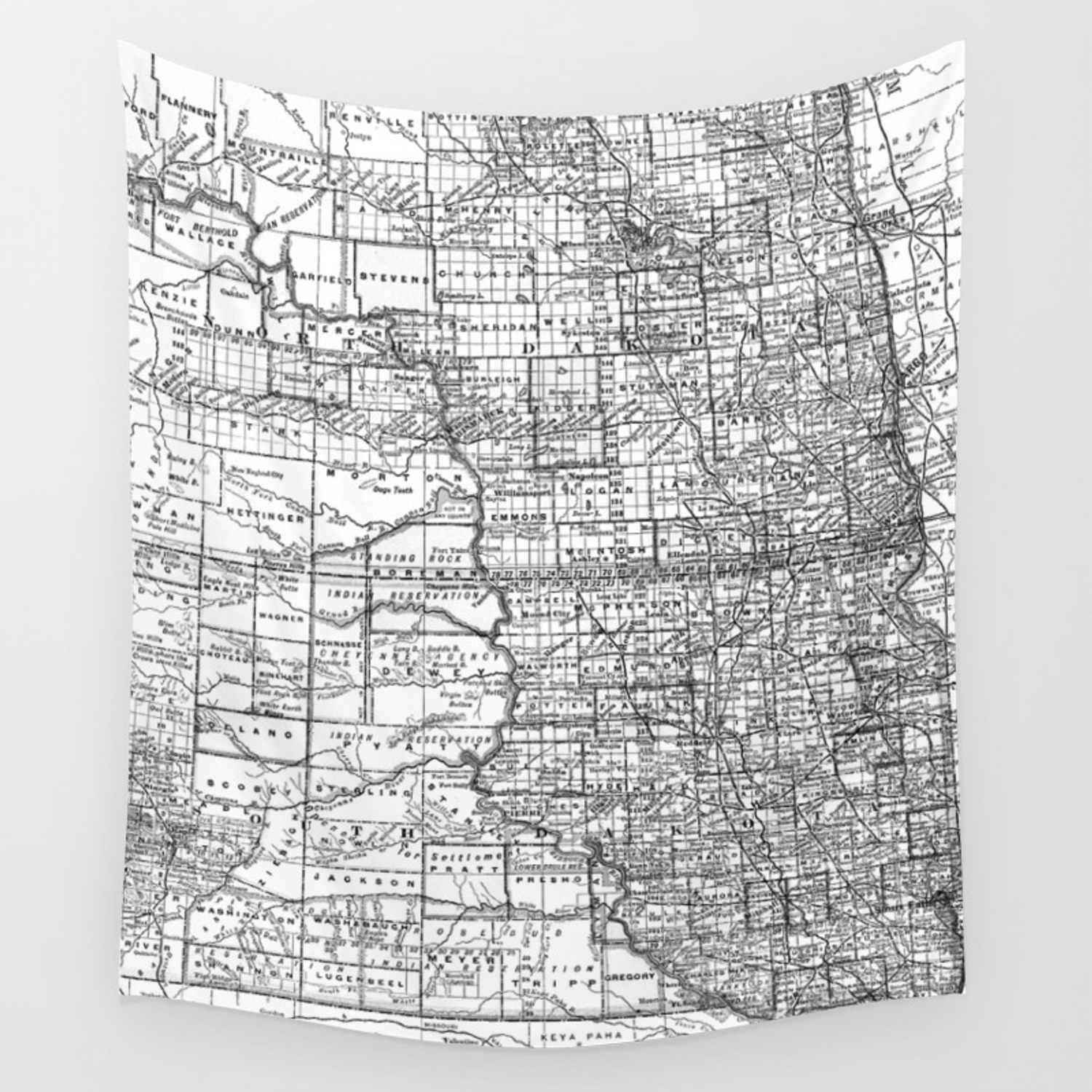 Vintage Map of North and South Dakota (1891) BW Wall Tapestry