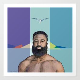 The Man and the Seagull Art Print