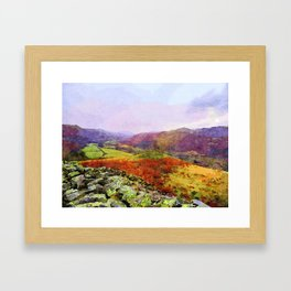 View towards the Sea from Hardknott Roman Fort through Eskdale Valley, Lake District, UK Watercolour Framed Art Print