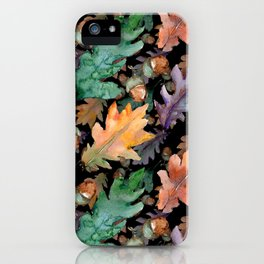 Colorful Woodland Watercolor Oak And Acorn Pattern iPhone Case