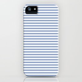 Mattress Ticking Narrow Horizontal Stripe in Dark Blue and White iPhone Case