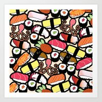 sushi Art Prints featuring Sushi! by thickblackoutline