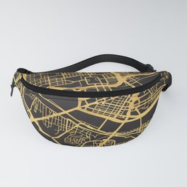 PITTSBURGH PENNSYLVANIA GOLD ON BLACK CITY MAP Fanny Pack