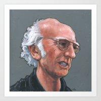 larry david Art Prints featuring Larry David by Micah Krock