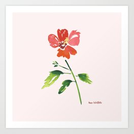 Hibiscus on pink background Art Print
